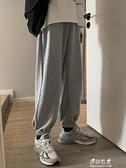 秋季男士灰色寬鬆束腳運動休閒長褲小腳收口褲子男生韓版潮流百搭