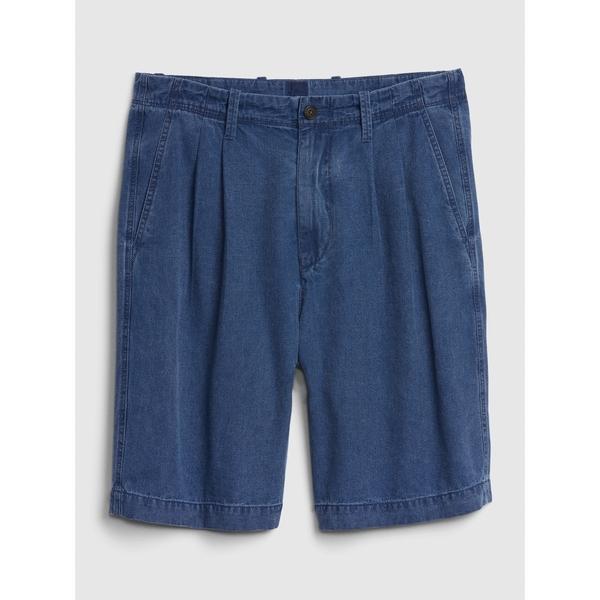 Gap男裝簡約風格純色休閒短褲574012-織紋靛藍