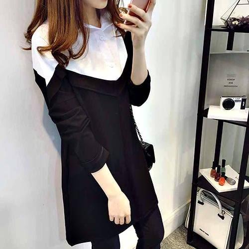 克妹Ke-Mei【AT50666】KOREA浪漫小女人併接立領襯杉造型T恤洋裝