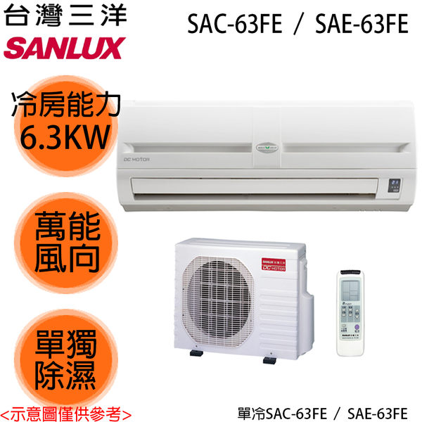 【SANLUX三洋】7-8坪定頻分離式冷氣SAE-63FE/SAC-63FE 送基本安裝