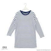 【INI】簡單日常、基本百搭條紋棉質長版上衣.白色