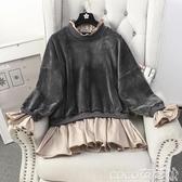 假兩件洋裝秋裝新款韓版時尚木耳邊金絲絨拼接假兩件衛衣連身裙女中長款 春季特賣