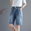 貼布繡水洗鬆緊腰牛仔短褲牛仔褲薄款透氣【96-17-880210407006-21】ibella 艾貝拉