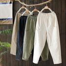 素色棉質大口袋拼接鬆緊腰寬鬆蘿蔔長褲-設...