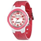 捷卡 JAGA 指針錶 白面 粉紅橡膠 33mm 女錶/學生錶 照明功能 清楚時間判讀 舒適配戴 AQ71A-DG