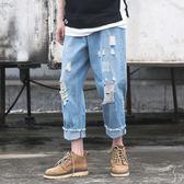 原創潮男日系復古水洗牛仔褲夏季淡藍色破洞直筒牛仔褲寬鬆休閒褲WY刷破牛仔褲三角衣櫥