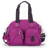 Kipling經典Basic雙口袋Defea肩側背兩用波士頓包(桃紫紅色)460108-136