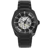 【台南 時代鐘錶 SIGMA】簡約時尚 藍寶石鏡面全鏤空機械錶 1333M-B 黑 41mm