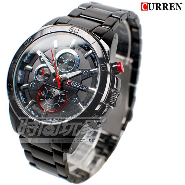 CURREN 卡瑞恩 粗曠厚實 造型三眼 大錶徑腕錶 男錶 防水手錶 黑 CU8275紅槍黑