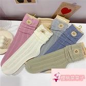 日系蕾絲襪鏤空可愛素色中筒襪堆堆襪女洛麗塔風襪子【櫻桃菜菜子】