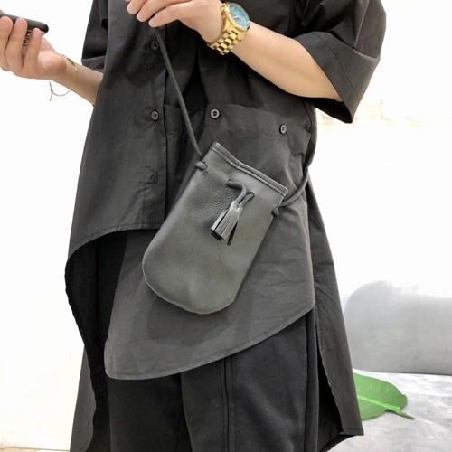 真皮手機包-黑色牛皮復古束口男女側背包73yn21【巴黎精品】