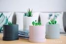 北歐簡約圓柱形白色陶瓷花盆帶托盤風現代桌面綠植盆栽 【全館免運】