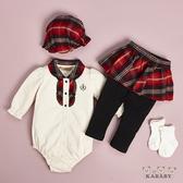 【金安德森】秋冬彌月禮盒-網布花邊短兔裝+假兩件褲裙