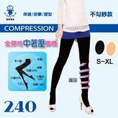 【衣襪酷】壓力襪 纖腿 240全彈性褲襪 塑腿襪 束腹提臀 台灣製 金滿意