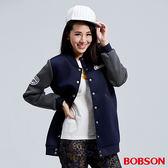 BOBSON 女款太空布長版棒球外套(36106-53)