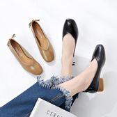 豆豆鞋女女鞋復古百搭春季方頭粗跟單鞋女淺口奶奶鞋女 優家小鋪
