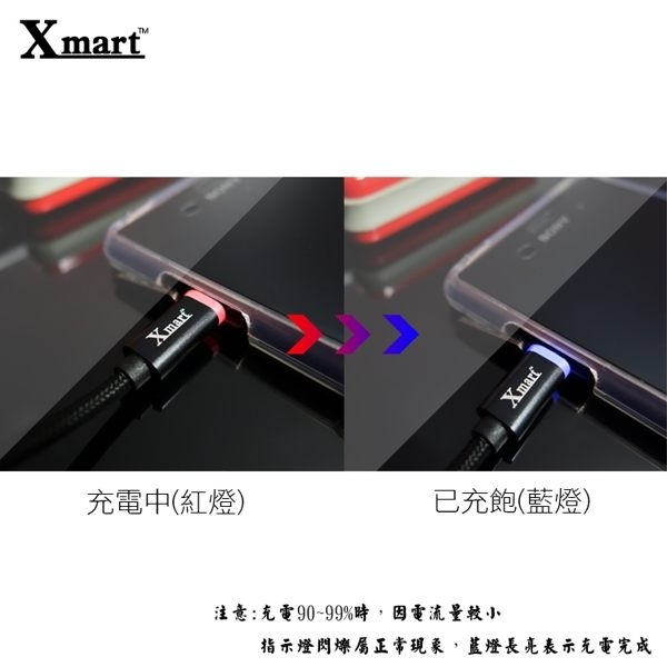 ◆Xmart Micro USB 120cm發光編織傳輸線/充電線/ASUS ZenPad 8.0 Z380KL/ZenPad 10 Z300CL