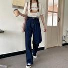 闊腿褲 復古牛仔褲女夏季2020新款褲子高腰顯瘦闊腿褲寬鬆拖地褲直筒長褲 寶貝計畫