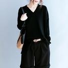 純棉針織衫 V領長袖毛衣 前短後打底針織衫/3色-夢想家-0911