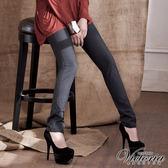 Victoria 千鳥格內刷毛窄直筒褲-女-灰色