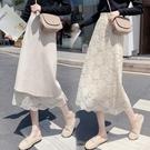 兩面穿秋冬針織半身裙女蕾絲中長款長裙網紗A字裙高腰包臀一步裙