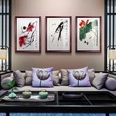 中式裝飾畫客廳壁畫玄關墻畫現代餐廳飯廳有框掛畫豎版【聚寶屋】