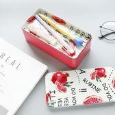 韓版彩色收納盒笔盒桌面創意單雙層馬口鐵雜物文具整理盒鐵盒子 莫妮卡小屋