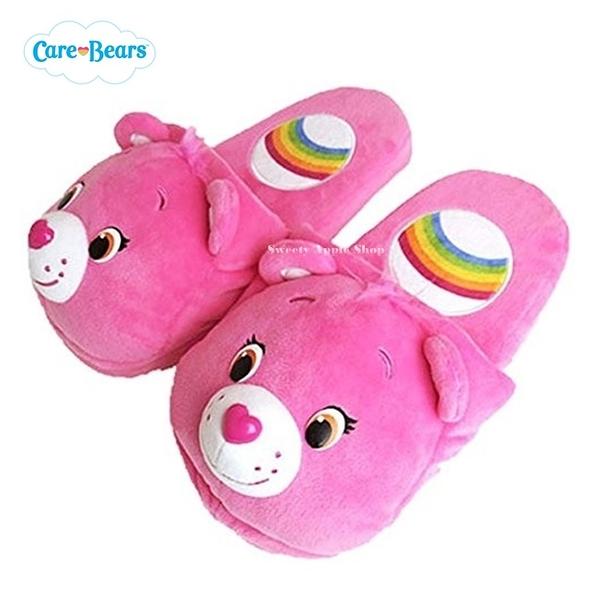 日本限定 Care Bears 彩虹熊 絨毛室內拖鞋 (粉)