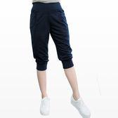 質感七分褲--輕鬆休閒運動女孩腰頭褲管羅紋雙口袋運動七分褲(紅.藍XL-4L)-S75眼圈熊中大尺碼