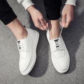 萬聖節狂歡   男鞋春季白鞋男韓版潮流小白鞋男百搭布洛克休閒皮鞋板鞋白色鞋子   mandyc衣間
