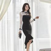 歐媛韓版 秋冬裝新款洋裝小禮服 名媛OL氣質蕾絲長袖修身不規則魚尾連身裙 店慶降價