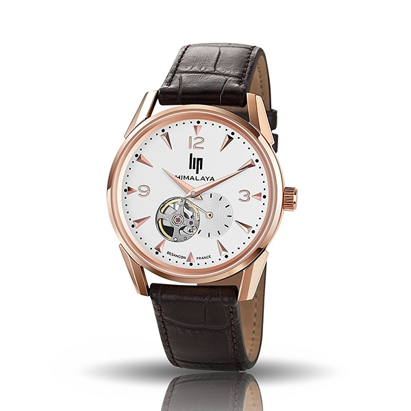 【lip】Himalaya精緻時尚真皮鏤空機械腕錶-壓紋棕/671254/台灣總代理公司貨享兩年保固