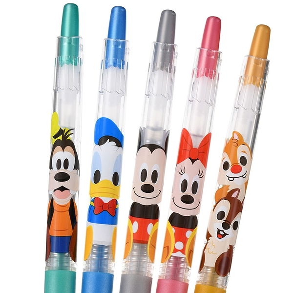 【京之物語】日本製迪士尼可愛人物0.5水性原子筆金屬五色五入組-預購商品