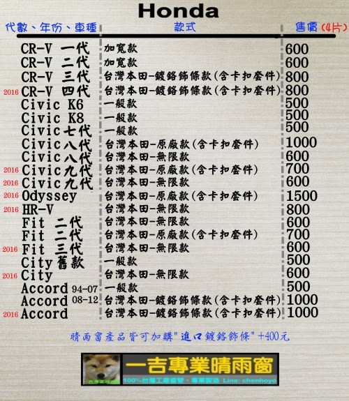 【一吉】CRV 一代 鍍鉻飾條款 (加寬13CM、加厚)   晴雨窗 台灣製造(camry,crv,rav4,fit,focus