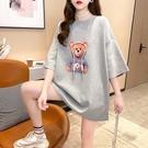 加大尺碼上衣T恤女2101#65聚酯纖維30棉5氨綸夏裝寬松印花短袖T恤H500依佳衣