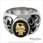 西德鋼飾「金色骷髏頭」鋼戒指 街頭嘻哈風
