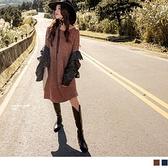 《DA8238-》休閒坑條花紗抽皺傘擺長袖洋裝 OB嚴選