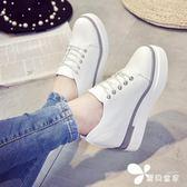 楔型鞋 厚底松糕鞋隱形內增高學生休閒小白鞋系帶韓版平底