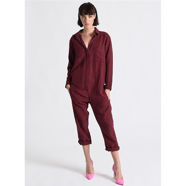 OneTeaspoon OXBLOOD LINEN SOHO SUIT 連身褲-紅