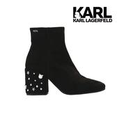 Karl Lagerfeld 卡爾 老佛爺 LAVINIA 毛尼貓咪珍珠踝靴-黑