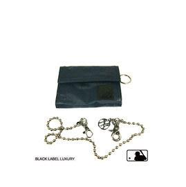 Backbager 背包族【MLB 美國大聯盟 洋基】橫式 魔鬼氈 名片夾/皮夾/短夾/錢包-黑色