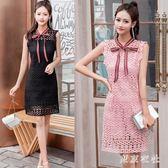 連衣裙 流行女裝新款高檔氣質蕾絲緊身連衣裙漏兩肩小清新裙子 QQ4756『東京衣社』
