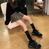 格子短裙女秋冬半身裙a字裙高腰顯瘦百褶裙2020新款小個子jk制服