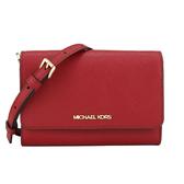 Michael Kors JET SET防刮皮革金字WOC小型手機斜背包(紅色)