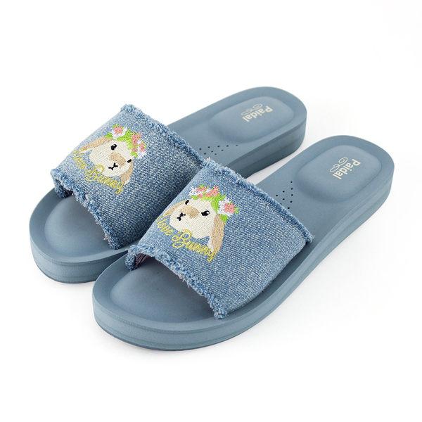 Paidal 刷色牛仔花冠小兔一片式膨膨氣墊拖厚底拖鞋