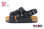 HABU哈布 中大童涼鞋 軟皮軟墊休閒涼鞋I6645#黑◆OSOME奧森鞋業
