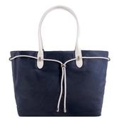 【南紡購物中心】agnes b.新款束繩手提包(大/深藍x白提把)