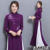 中國風女裝氣質改良旗袍長款復古連身裙茶服  遇見生活