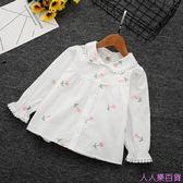 新款童裝女童襯衫中小童韓版花朵刺繡襯衣寶寶百搭棉長袖上衣