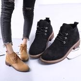 短靴女 2020秋冬新款平底圓頭及裸靴簡約繫帶磨砂皮翻毛皮 馬丁靴 童趣